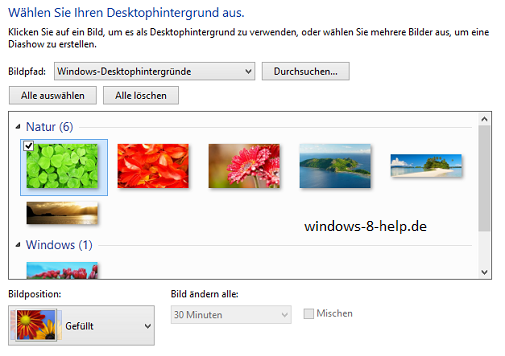 Wallpaper Eigenschaften Screenshot